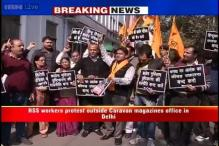 Hindu Sena workers protest outside Caravan magazine's office in Delhi