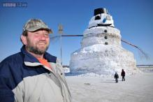 Photos: Farmer builds 50-foot snowman named 'Granddaddy', admits neighbors are questioning his sanity