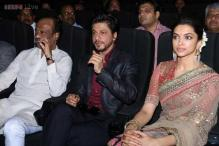 Bollywood's Baadshah SRK and Thalaiva Rajinikanth come together for 'Kochadaiyaan' music launch