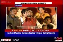 Shiv Sena's Ramdas Kadam targets Muslims at a rally as Modi looks on