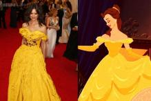 Snapshot: Did Katie Holmes just borrow Disney princess Belle's canary yellow ball gown design for the Met Gala?