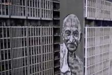 158 feet. Finished in 5 days. The tallest mural in India is of Mahatma Gandhi painted on the sides of the Delhi Police HQ
