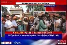 Varanasi: School kids gather outside BHU to meet Modi