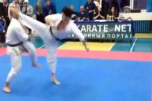 Is this the shortest karate match in history? Watch how a spinning kick ends a karate match in just 3 seconds!