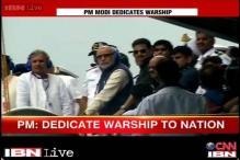 Narendra Modi on board INS Vikramaditya in Goa