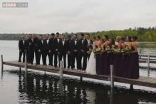 Entire wedding party takes the plunge at a wedding in Minnesota!