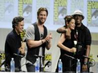 Avengers at Comic-Con 2014: Josh Brolin eats a rose offered by Robert Downey Jr