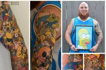 Photos: With 41 tattoos, a Simpsons fan has set a Guinness World Record for maximum cartoon character tattoos on a body