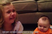 Watch: This little girl has a complete meltdown when she realizes that her cute baby brother will grow up eventually