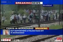 Moradabad: BJP supporters pelt stones at police
