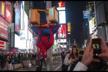 Superhero in jail: Spiderman at New York's Time Square arrested for punching a police officer