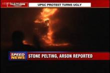 UPSC aspirants clash with police, burn vehicles in North Delhi