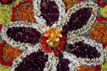 Onam season ushered in with traditional 'pookalam'