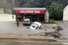 Sinkhole swallows car in western Pennsylvania