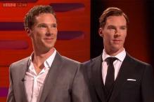Watch: Benedict Cumberbatch poses with his wax statue on a TV chat show and you won't be able to tell who the real Sherlock is!