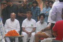 Haryana election diary: At a public meeting with Jind MLA Dr Hari Chand Middha