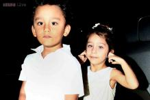 Snapshot: Sanjay and Manyata Dutt's children Shahraan and Iqra look adorable in white as they attend a friend's birthday party