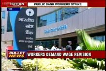 Public Sector Bank employees on a day-long strike on Wednesday seeking wage revision