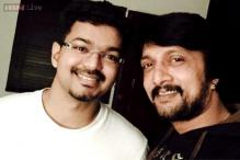 Snapshot: Kichcha Sudeep posts a selfie with Ilayathalapathy Vijay; says he's in awe of Sridevi's presence on the sets