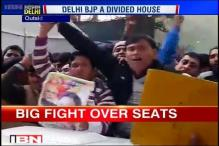 Protest outside Delhi BJP headquarters after denial of ticket to Abhay Verma from Laxmi Nagar