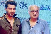 An overwhelmed Boney Kapoor cries while watching his son Arjun Kapoor's 'Tevar'