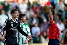 Real Madrid win 2-1 against Cordoba after Ronaldo sees red for kicking