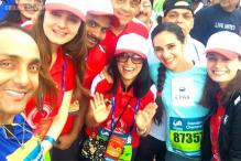 Photo of the day: Dia Mirza, Rahul Bose,Tara Sharma pose at the Mumbai Marathon