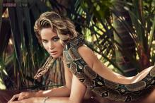 Jennifer Lawrence poses nude with snake for a magazine