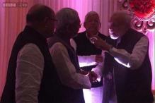 PM Modi meets Bihar CM Nitish Kumar at wedding of Lalu's daughter and Mulayam's grand nephew