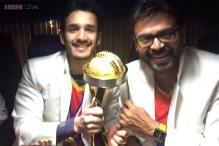 Snapshot: Young Akhil Akkineni poses with Venkatesh and Telugu Warriors' new Celebrity Cricket League trophy