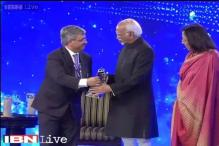 Vice President Hamid Ansari was welcomed with a memento at IOTY 2014