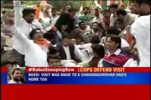 Upset over police queries about Rahul Gandhi, Congress protests outside Rajnath Singh's residence