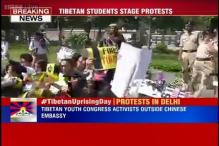Tibetan Youth Congress activists protest outside Chinese Embassy to mark Tibetan Uprising Day