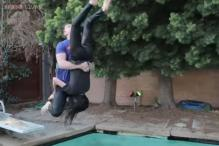 This guy performs WWE finishing moves on his girlfriend and it is so epic