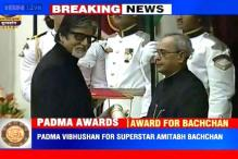 Photo of the day: Amitabh Bachchan receives Padma Vibhushan from President Pranab Mukherjee