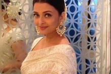 Look of the day: Aishwarya Rai Bachchan looks elegant in a white embellished sari by Meera and Muzzaffar Ali