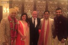 Snapshot: Anupam Kher attends Suresh Raina's wedding, poses with MS Dhoni, Irfan Pathan for photos