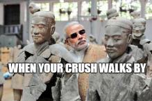 Narendra Modi's awkward photos in China combined with funny captions is what's breaking the internet today