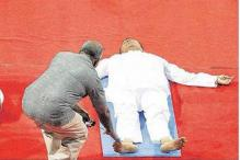 The one where the Railway Minister Suresh Prabhu fell asleep while doing yoga