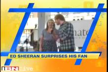 Ed Sheeran surprises young fan by joining her for a duet at mall