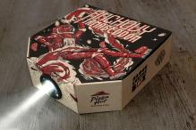 This Pizza Hut box is a pseudo movie projector