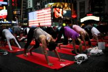 New York's iconic Times Square turns into Yoga Square