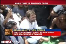 Rahul Gandhi joins striking sanitation workers in East Delhi