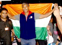Snapshot:  Milind Soman returns to India post 'Ironman' victory