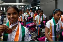 Indian women's hockey team arrive home to a grand welcome
