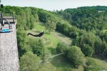 This man is able to do a bungee jump without bungee cords and only because of magnetism