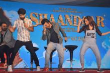 Photo of the day: Shahid Kapoor, Alia Bhatt match steps with director Vikas Bahl at the launch of 'Gulaabo'