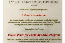Reliance Foundation, several other organisations win Porter Prize 2015
