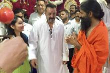 Snapshot: Sanjay Dutt and wife Manyata visit Mohit Kamboj's residence with Baba Ramdev for Ganpati Darshan