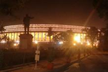 Indian Parliament lit up on the eve of the Constitution Day